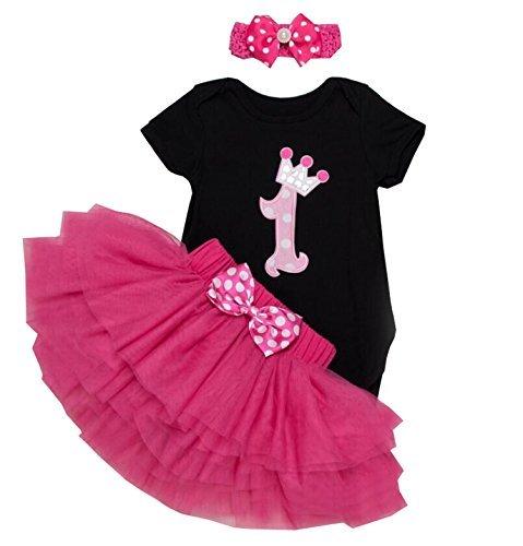 Babypreg® Bebé Niñas 1er Cumpleaños tutú con juego de diadema (XL/12-18 mes, negro)
