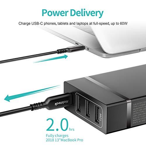 Nekteck USB C Caricabatterie da Muro 72W Caricatore USB 4 Porte con Type-C 60W Power Delivery Compatibile con Portatili MacBook/PRO iPad Amazon Fire Tablet Galaxy, Pixel 3A/ 3A XL ECC.