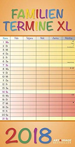 Familientermine XL 2018 - Regenbogen, Familienplaner 5 Spalten, Familien, Terminkalender im Großformat, für die ganze Familie  -  33 x 64 cm (5 X 5 Art)