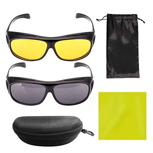 YLX Nachtsichtbrille Auto Fahren Nachtsicht Brille Sonnenbrille, 2-Stück Autofahrbrille Anti-Blend-Brille für Frauen und Männer(Schwarz Gelb)