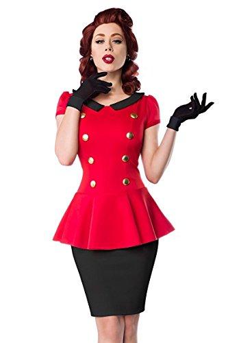 Belsira Schößchen Kleid - im Retrostil mit Rundhalsausschnitt - Bubikragen und kurze Puffärmelchen - dekorative, goldfarbene Knöpfen - A50023, Größe:44;Farbe:rot
