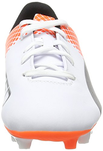 Puma Evospeed 5.5 FG Jr, Chaussures de Football Compétition Mixte Enfant, Mehrfarbig Weiß (puma white-puma Black-SHOCKING Orange 05)