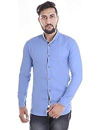 VERO LIE Man's Sky Blue Cotton Plain Solid Casual Shirt VR-ST053