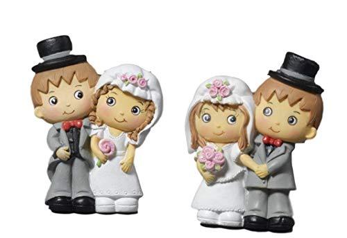 Paben 24 pezzi calamita sposi in resina due sposini bomboniera segnaposto matrimonio cm. 6,5