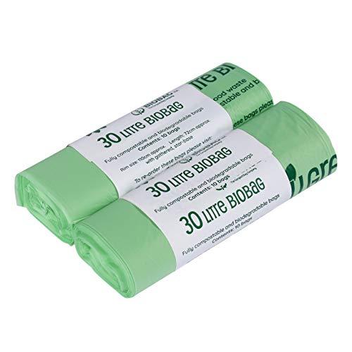 50x 7 litre cravate poignée compostable caddy sacs 1 rouleau 7L caddy liners