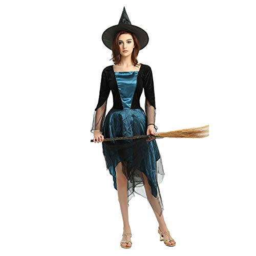 LYSOZ Blue Witcher Cosplay, Disfraz de Halloween de Personaje de Mujer, Adecuado for Todo Tipo de Disfraces de Fiesta temáticos, incluidos Disfraces y Sombreros (Adecuado for Altura de 160 cm-175 cm)