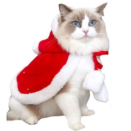 Stock Show Weihnachtsmannkostüm für Hunde und Katzen, mit Mütze, Winter, Fleece, mit Kapuze, warm, für Weihnachten, Party, Urlaub, für kleine Hunde und Katzen, Small/Medium Bobby Fleece