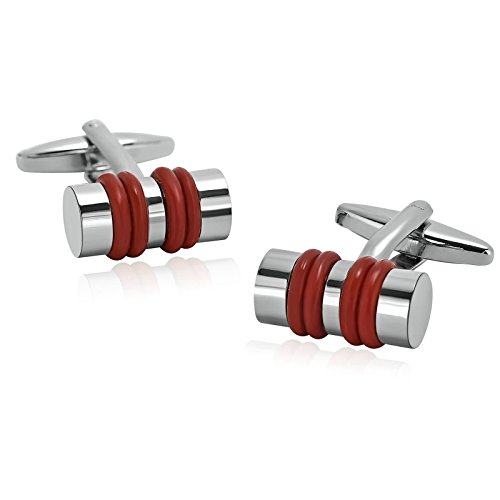 Gnzoe Uomo Acciaio Inossidabile Camicia Cuff Links Matrimonio Commerciale Fiber Optic Argento Orange