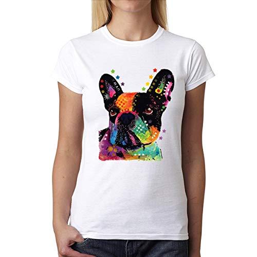 Bulldog Francés Mujer Camiseta Blanco S