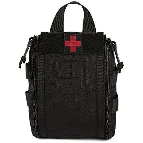 Yisibo Combat Medical Pouch Molle Rip-Away EMT medico pronto soccorso Utility Pouch Bag in Nylon Cintura Con Fibbia Cinghia e velcro fissaggio 3colori, Black
