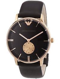 Emporio Armani AR0383 - Reloj analógico de cuarzo para hombre con correa de piel, color marrón