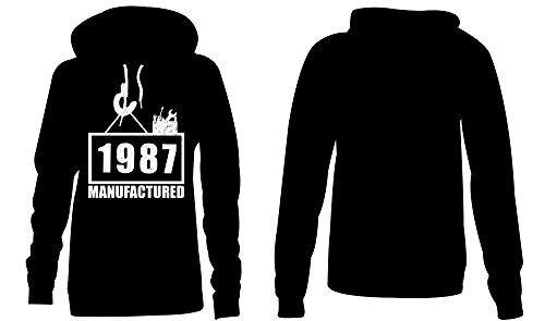 Manufactured 1987 - Hoodie Kapuzen-Pullover Frauen-Damen - hochwertig bedruckt mit lustigem Spruch - Die perfekte Geschenk-Idee (01) schwarz