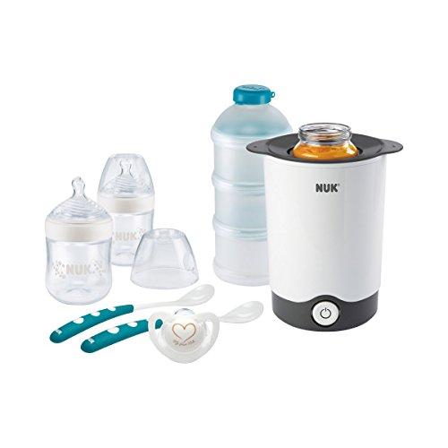 NUK Nature Sense Starter Set Mahlzeit mit Thermo Express Flaschenwärmer, Babyflaschen (150ml x2), Milchpulver-Portionierer, Genius Schnuller und Fütterlöffel (x2), 7 Stück