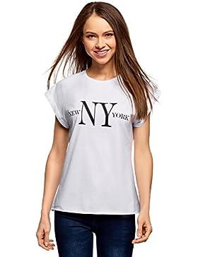 oodji Ultra Mujer Camiseta con Inscripción y Borde Inferior No Elaborado
