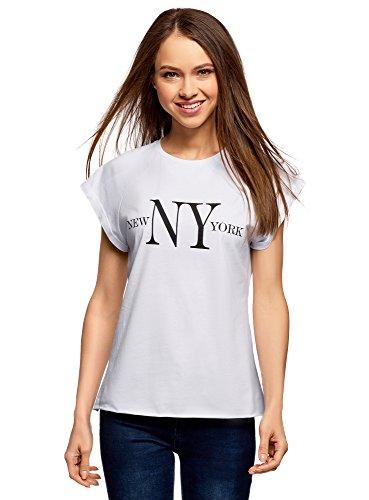 oodji Ultra Donna T Shirt Cotone con Scritta e Orlo Grezzo