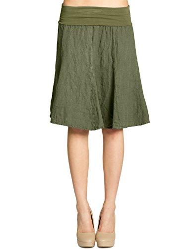 CASPAR RO014 Damen Leinenrock mit figurfreundlichem Stretch Bund, Farbe:Oliv grün, Größe:One Size -