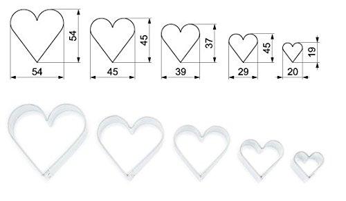 Ausstecher/ Ausstechform 5 er Set Herzen 2 - 5,4 cm aus Edelstahl