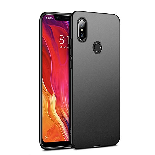 Richgle Schwarz Sehr Dünn Hülle Schutzhülle Case + Displayschutzfolie für Xiaomi Mi A2 Lite (Redmi 6 Pro) RG00146