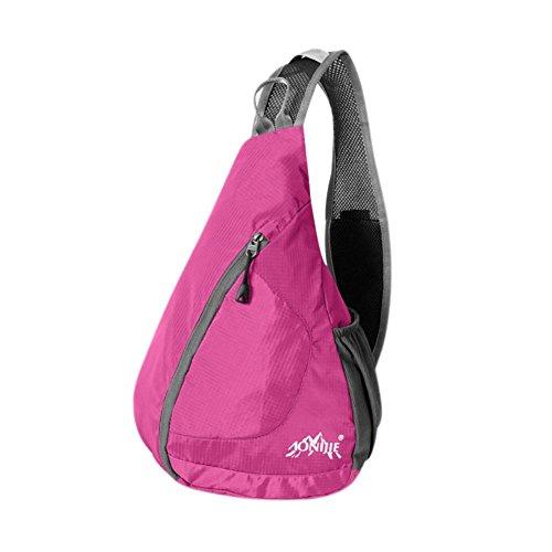 Reefa Männer und Frauen Faltbare Messenger Bag Tragbare Schulter Sport Outdoor Brust Tasche Rosa