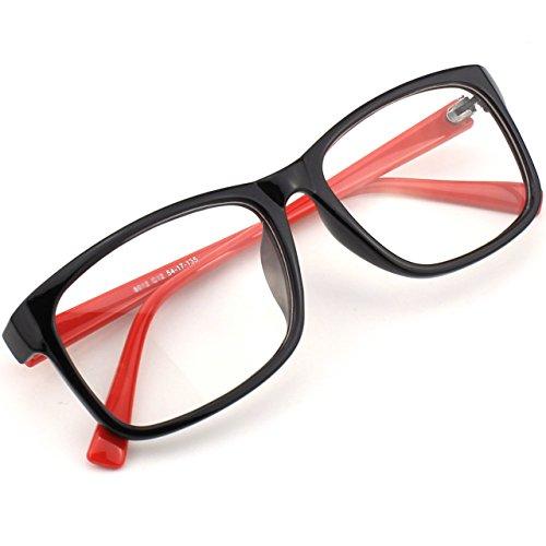 CGID CN12 Lunettes à verres transparents monture carrée fashion basiques casual Black Red