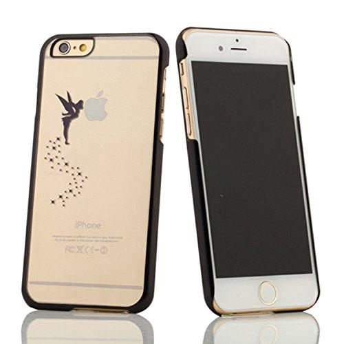 Coque iPhone 6 Plus/6s Plus , iNenk® Esprit créatif Fée Ange Laser sculpture Cherub Transparent téléphone Mode affaire Shell dur PC protection manchon d'électrodéposition-rose Noir