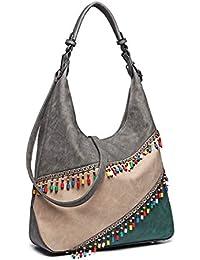 Miss Lulu Large Capacity Hobos Women Pu Leather Shoulder Bag Splice  Crossbody Handbags 528c6e668d9de