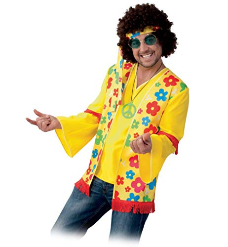 KarnevalsTeufel Kostüm-Set Hippie für Erwachsene, 5-teilig Oberteil, Perücke, Haarband, Kette und Hippie-Brille, 60er Jahre, Peace, Flower - Power | Karneval, Mottoparty (XL) (60er Peace Child Kostüm)