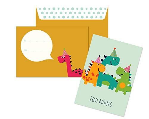 Friendly Fox Einladung Dino - 12er Set Einladungskarten Dinosaurier zum Kindergeburtstag Junge Mädchen - witzige Einladungskarten Geburtstag - Geburtstagskarte Dino (Mint)