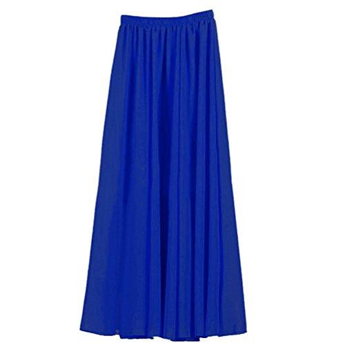 Nlife Frauen-Doppelte Schicht Chiffon- gefalteter Retro- langer Maxi Rock-elastischer Taillen-Rock, 100cm, Farbe: Blue - Double-layer-chiffon-rock