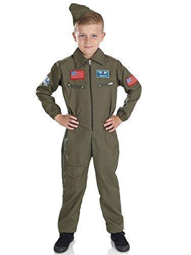 Jungen Air Kadett Armee Militär Khaki Uniform Aviator Kostüm Verkleiden Outfit - Grün, EU 128-140 (Armee Kadett Kostüme)