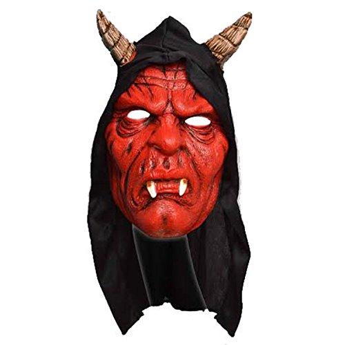 Erwachsene Unisex Hooded Teufel Maske mit Hörnern Schwarz Cape Party Kostüm