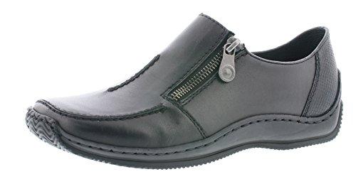Rieker Damen Slipper L1780,Frauen Halbschuh,Schlüpfschuh,modisch,feminin,elegant,Blockabsatz 2.2cm,schwarz/schwarz / 00, EU 38