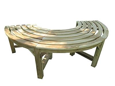 Trendy-Home24 Halbe Baumbank aus Teakholz, Massivholz, Holzbank, Gartenbank, ca. 150 cm breit, unbehandeltes Teakholz, ohne Rückenlehne, halber Kreis
