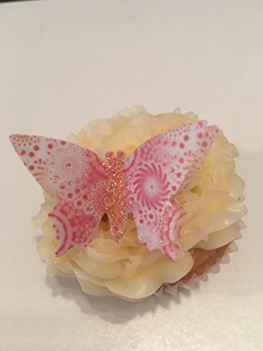 12vorgeschnittenen handgefertigt Pink & Coral Swirl 3D Effekt Glitzer Body Schmetterling Essbar Wafer Papier Kuchen Topper Dekorationen (Öl-swirl)