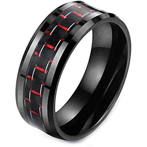 Gudeke Para hombre de 8mm anillo del tungsteno Negro y rojo fibra de carbono del embutido de la venda de boda de