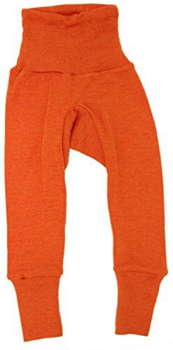 Cosilana Baby Hose lang mit Bund, Größe 74/80, Farbe Safran-Orange, 70 % Merinoschurwolle, 30 % Seide