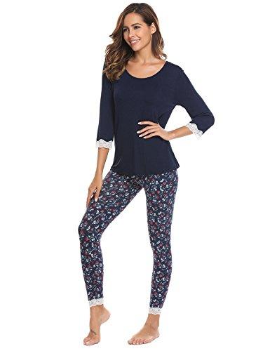 ADOME Damen Schlafanzug lang Blumen Loose Fit Herbst Winter Pyjama set Jersey Nachtwäsche warm sleepwear leicht Atmungsaktiv Schwarzblau