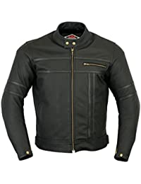 Texpeed - Herren - Motorradjacke aus mattem Leder - Zweifarbig - Schwarz 09cb6f2d01