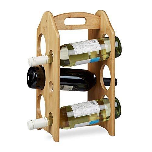 Relaxdays Weinregal aus Bambus, für 6 handelsübliche Flaschen, mit Griff, originelles Design, freistehend, HxBxT: ca. 40 x 20 x 20 cm, natur