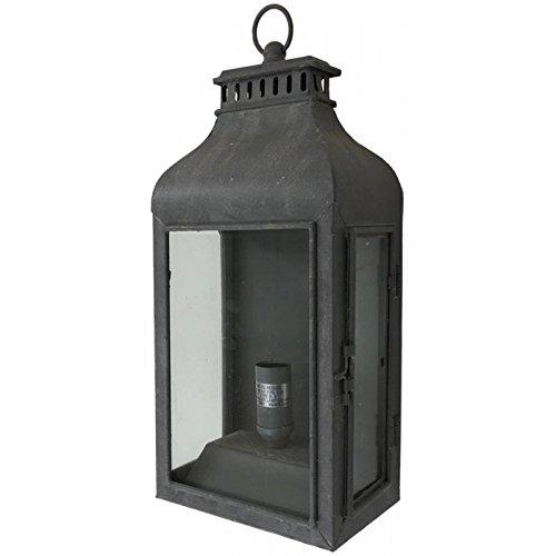 chemin_de_campagne Style Ancienne Lanterne Electrique Murale ou à Poser Fer d'Extérieur 43 cm