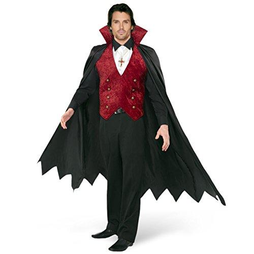 Weste Cape & Dracula Kostüm - Elbenwald Vampir Kavalier Kostüm Herren - Dracula Umhang, Cape mit Weste und Halstuch schwarz, rot - M
