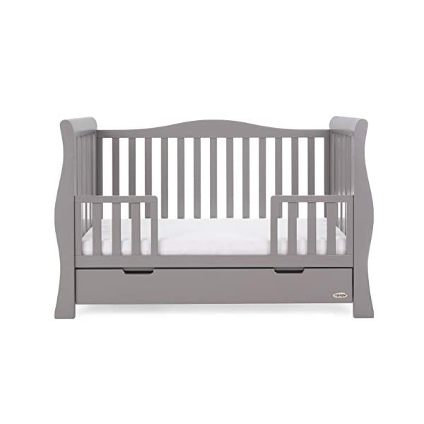 Obaby Stamford Sleigh Luxe Cot Bed - Taupe Grey Obaby Adjustable 3 position mattress height Bed ends split to transforms into toddler bed Includes matching under drawer for storage 9