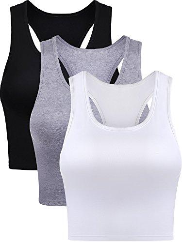 Damen Crop Tank Top Baumwolle Basic Ärmellos Racerback Kurz Sport Crop Top für Damen Mädchen Tägliches Tragen (Farbe Set 1, Klein) -