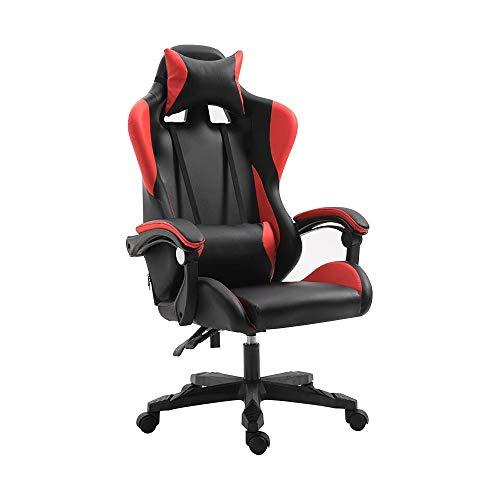 Bseack Drehstuhl Computerstuhl, Verstellbarer Racing-Stuhl Ergonomie Liegender Bürostuhl mit Kopfstütze und Lordosenstütze für Office Network Club (Farbe : Rot) -