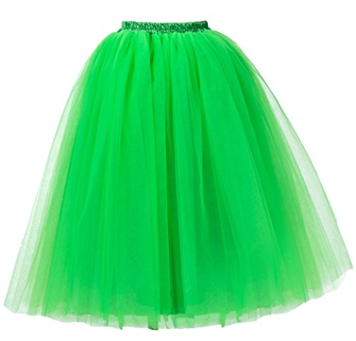 Damen Kurz Vintage Petticoat Rock Ballett Blase Tutu bunten Grasgrün