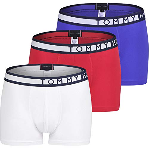 Tommy Hilfiger 3-Pack Tommy Logo Herren Boxer Stämme, Rot/weiß/blau Mittel -