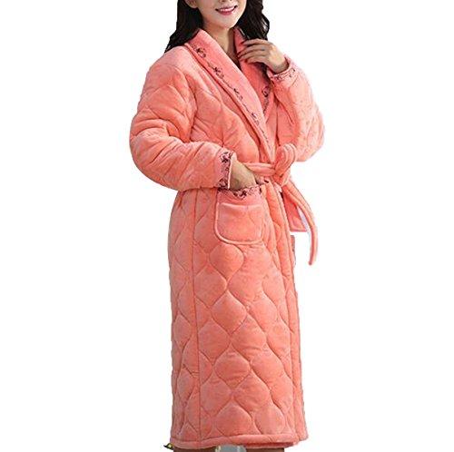 Donne Delle Donne Cadono I Pigiami Invernali Più Spessi Sleepwear Manica Lunga Con Manico Lungo Con Accappatoi Orange