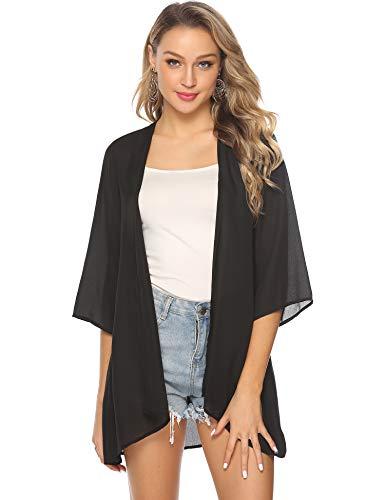 Abollria Damen Chiffon Kimono Cardigan Elegante Leichte Sommerjacke 3/4 Arm Casual Strand Cover Up für Urlaub,Schwarz,M