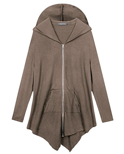 Urbancoco Damen Lose Zip Hooded Sweatshirt Jacke Handchief Saum (3X-Large, cafe (Kostüm Cl)