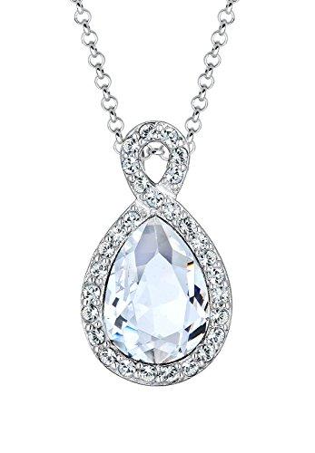 Elli Damen-Halskette mit Anhänger Infinity Glamour silber 925 Swarovski Kristall weiß 0111881215_45 - 45cm Länge